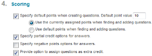 Under Test Question Settings page, ensure the checkbox for, Provide option to assign questions as extra credit, is checked.