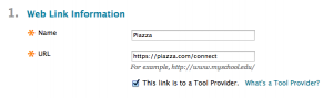 The Web Link Information form filled out for adding Piazza as a Tool Provider in Blackboard.