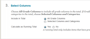 On the Edit Total Column page, locate the Select Columns section.