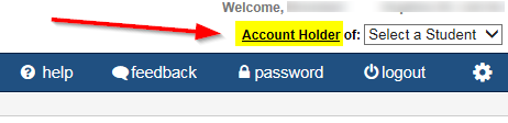 Account Holder link at top of the page