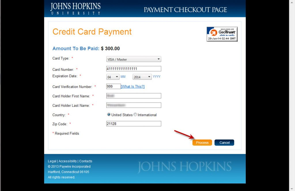 Pay with Credit Card - form 3