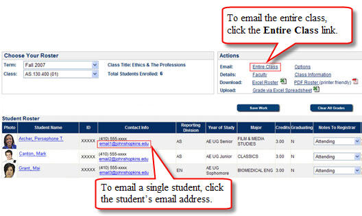 Email Student or Email Class