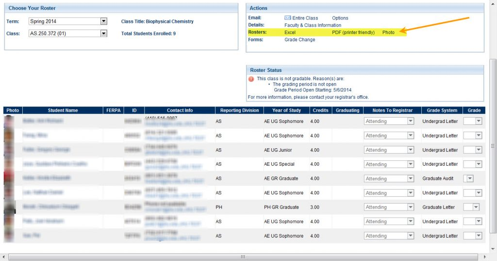 From Grade Roster page, Actions box has Excel, PDF, Photo Roster links
