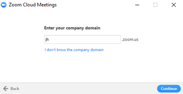 Desktop client sign in screen - enter your company domain