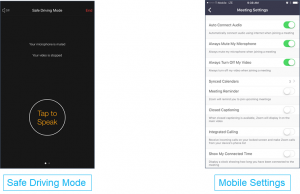 Safe Driving Mode screen and Meeting Settings screen