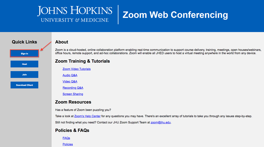 Zoom Web Client | IT@JH University Information Systems