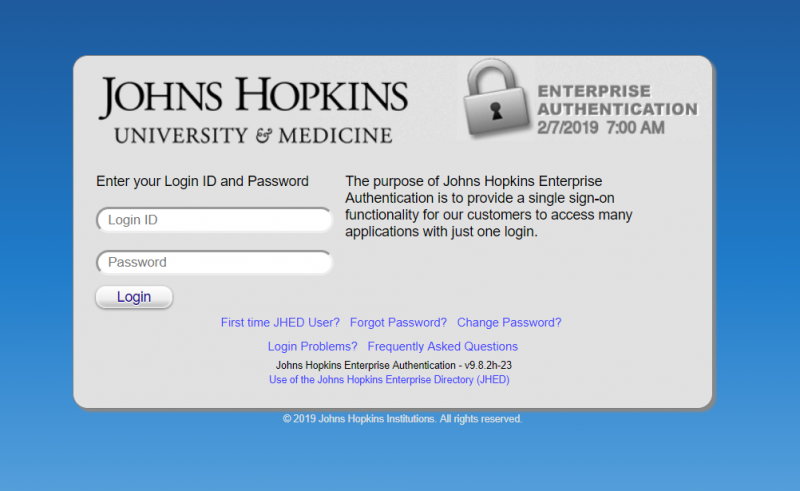 Johns Hopkins enterprise authentication
