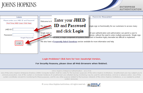 Enter JHED ID and JHED Password