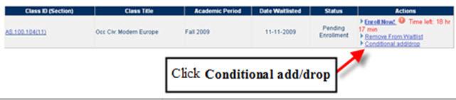 Pending Enrollment - Conditional Add/Drop