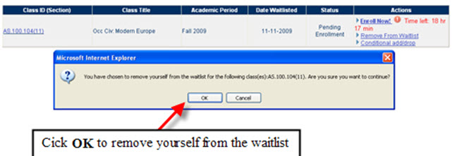 Pending Enrollment - Remove from Waitlist