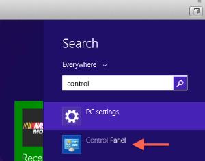 Control Panel search window