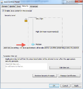 Java Security High (default) to Medium selection
