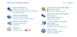 Programs screen, Uninstall a program selection