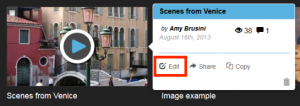 To edit a VoiceThread, click the Edit link in the option menu.