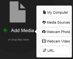 Add Media options menu