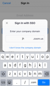 Sign In with SSO screen