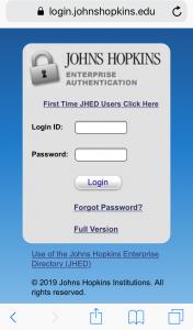 Johns Hopkins Enterprise Authentication screen
