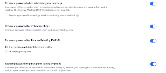Require a password settings found under meeting settings