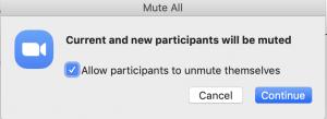 Mute All participants dialogue