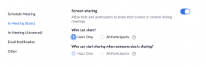 Who can share? setting changed to Host Only