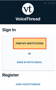 Select Find My Institution form the sign in page.