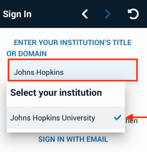 Find and select Johns Hopkins University from the list.
