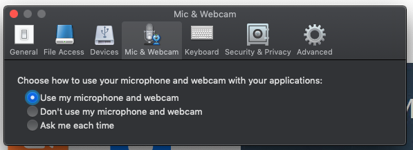 Mac Mic and Webcam settings