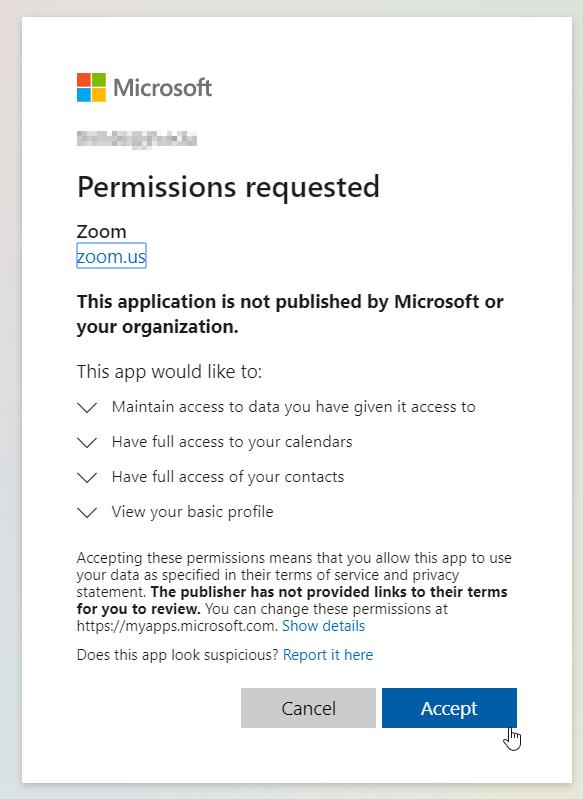 Zoom permissions