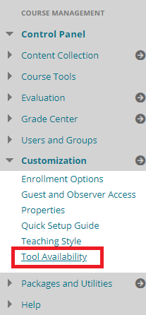In the course menu, under Customization, select Tool Availability