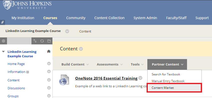 In a course content area, select Partner Content, then select Content Market