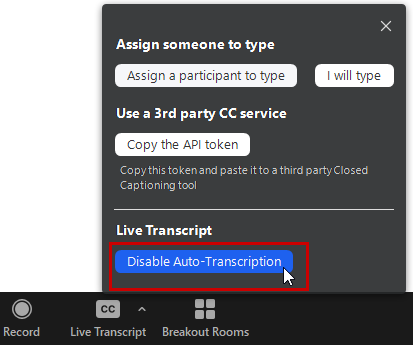 disable live transcription