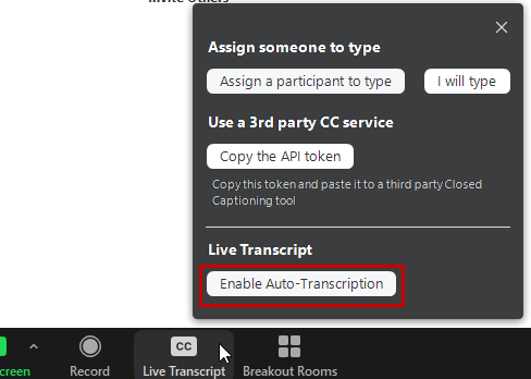 Enable live transcription