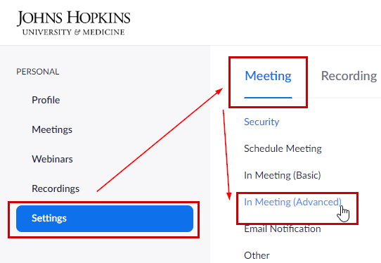 In Meeting Advanced Settings