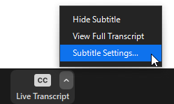 Subtitle settings