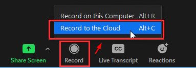Record to the Cloud button