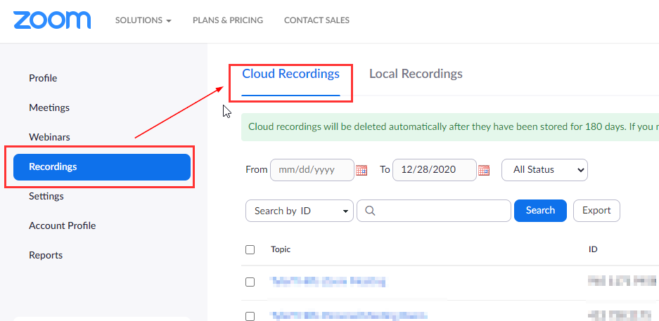 Cloud recording location when signed in the web