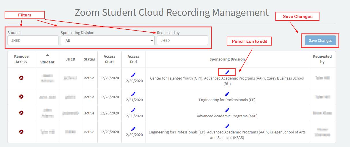 Student Cloud Recording Management Portal