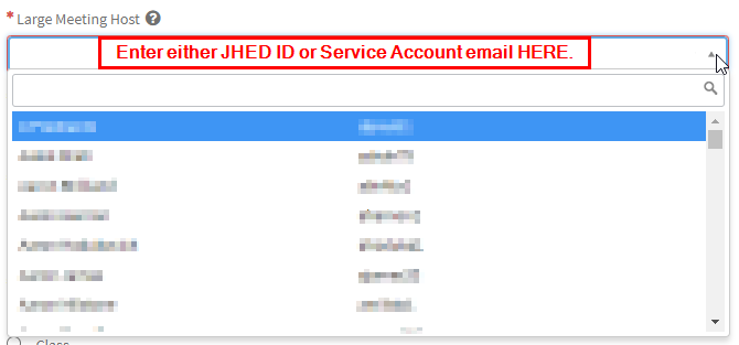 JHED ID or service account search box