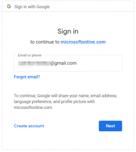 Google account sign-in: enter your email address