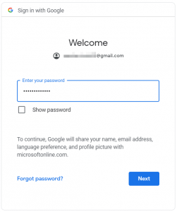 Google account sign-in: enter your password