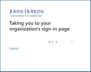 Taking you to your organization's sign-in page