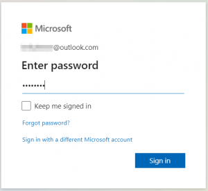 Microsoft account sign-in: enter your password