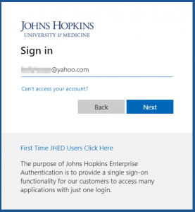 Johns Hopkins sign-in page