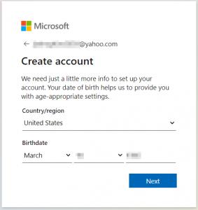 Create account: more info