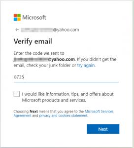 Verify email: enter the code