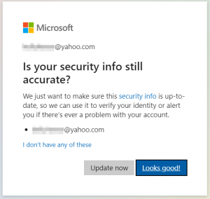 Is your security info still accurate?