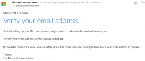 Example email for verifying email address