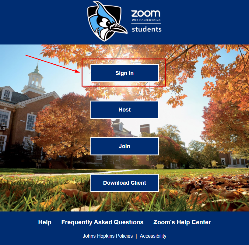 Zoom student sign in page