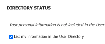 Checkbox for List my information in the User Directory is selected