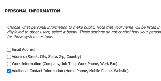 Checkbox for Additional Contant Information selected